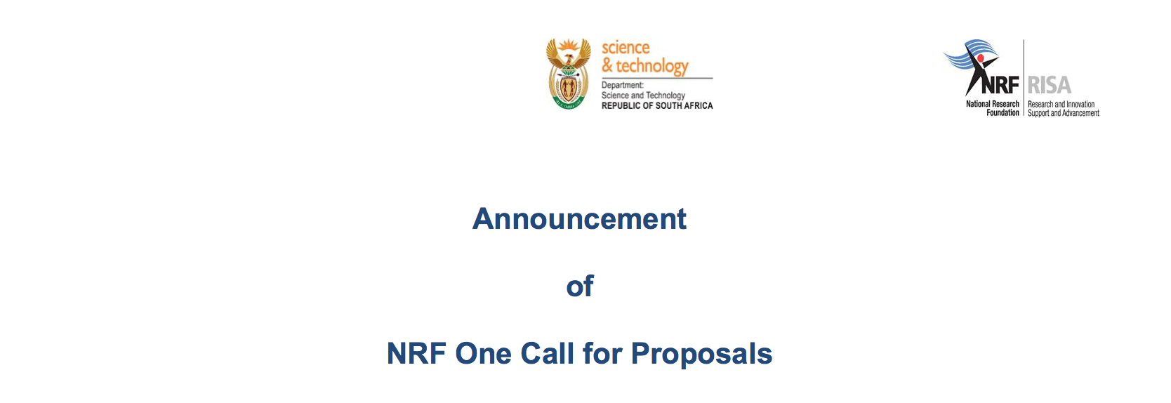 Announcement of NRF One Call for Proposals 2020/2021